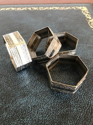 White Metal Napkin Rings - Unusual Design set of 6