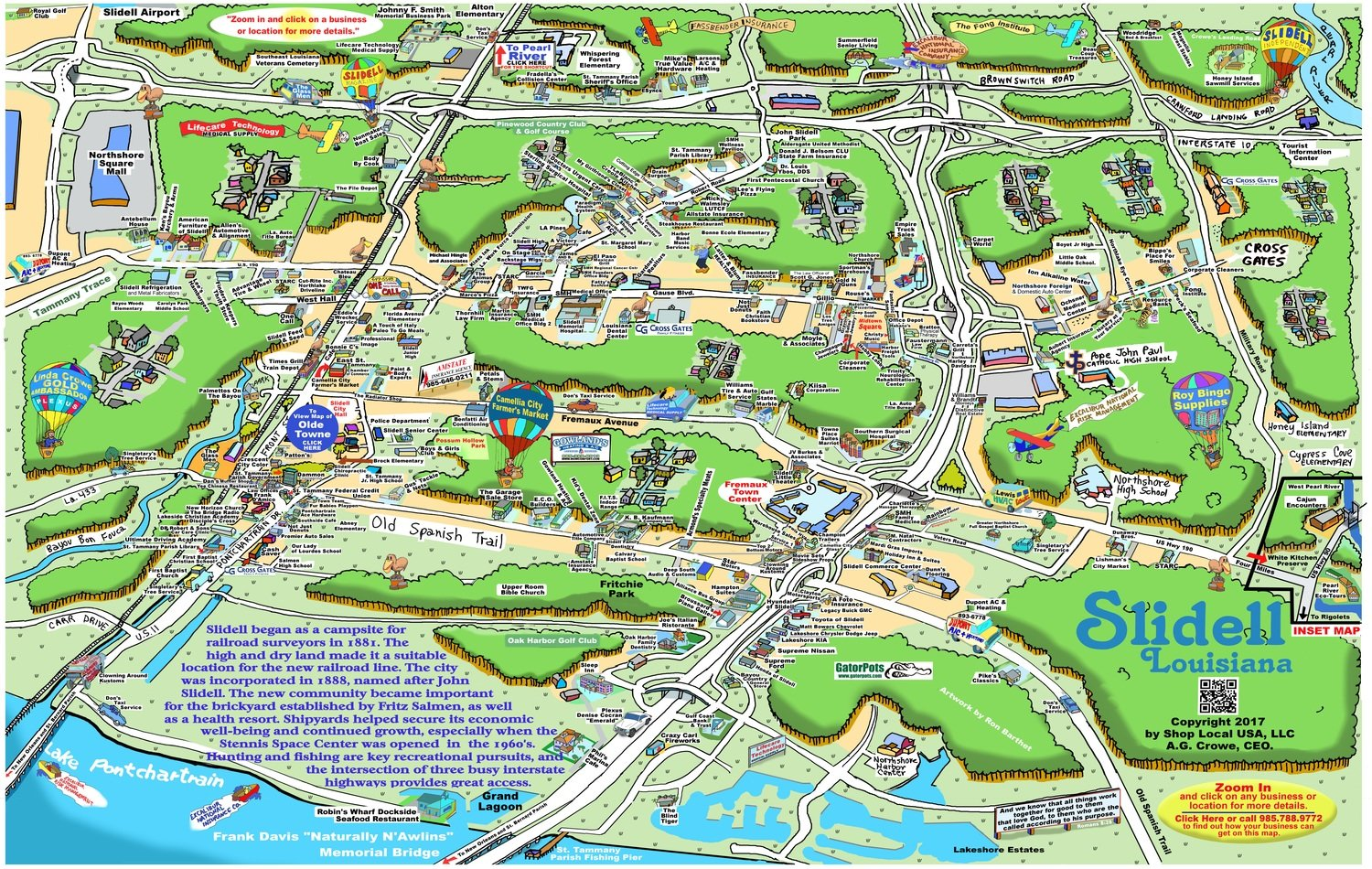 "24"" X 36"" Full Color Caricature Rendering of Slidell, LA"