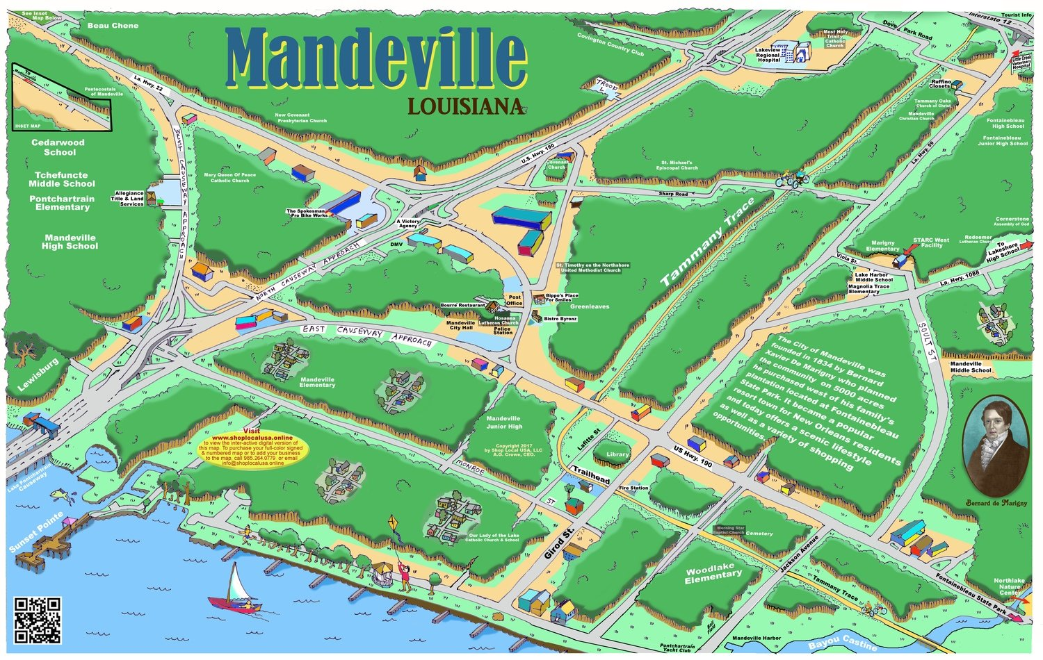 "24"" X 36"" Full Color Caricature Rendering of Mandeville, LA"