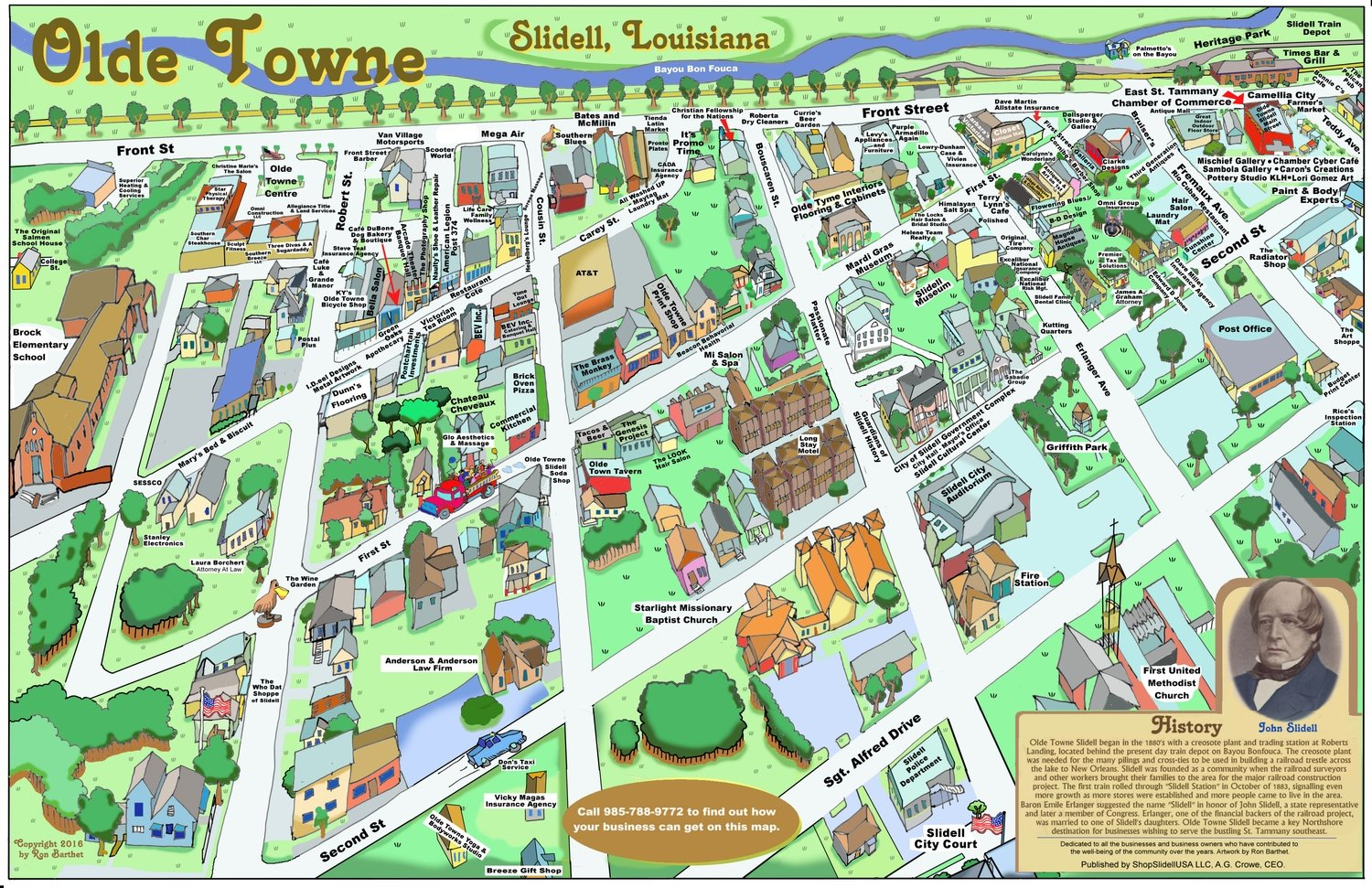 "24"" X 36"" Full Color Caricature Rendering of Historic Olde Towne Slidell, LA"