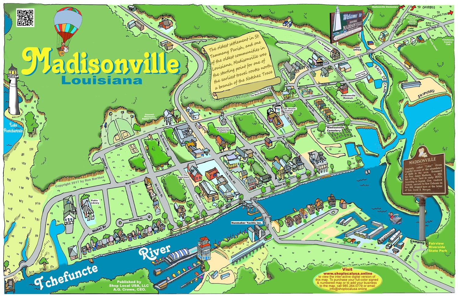 "24"" X 36"" Full Color Caricature Rendering of Historic Madisonville, LA"