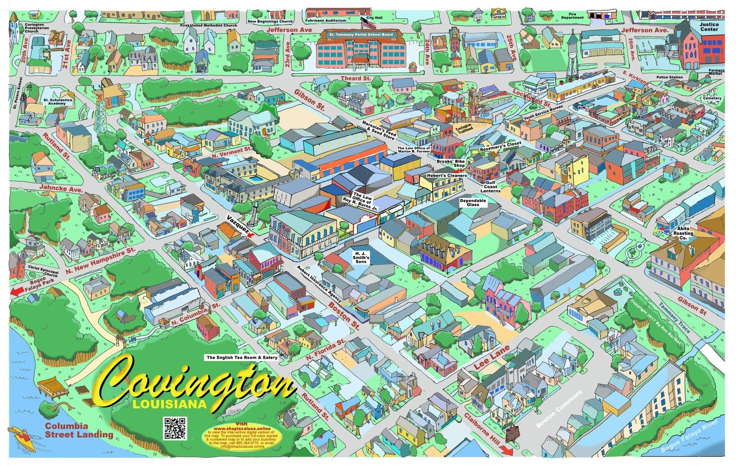 "24"" X 36"" Full Color Caricature Rendering of Historic Downtown Covington, LA"