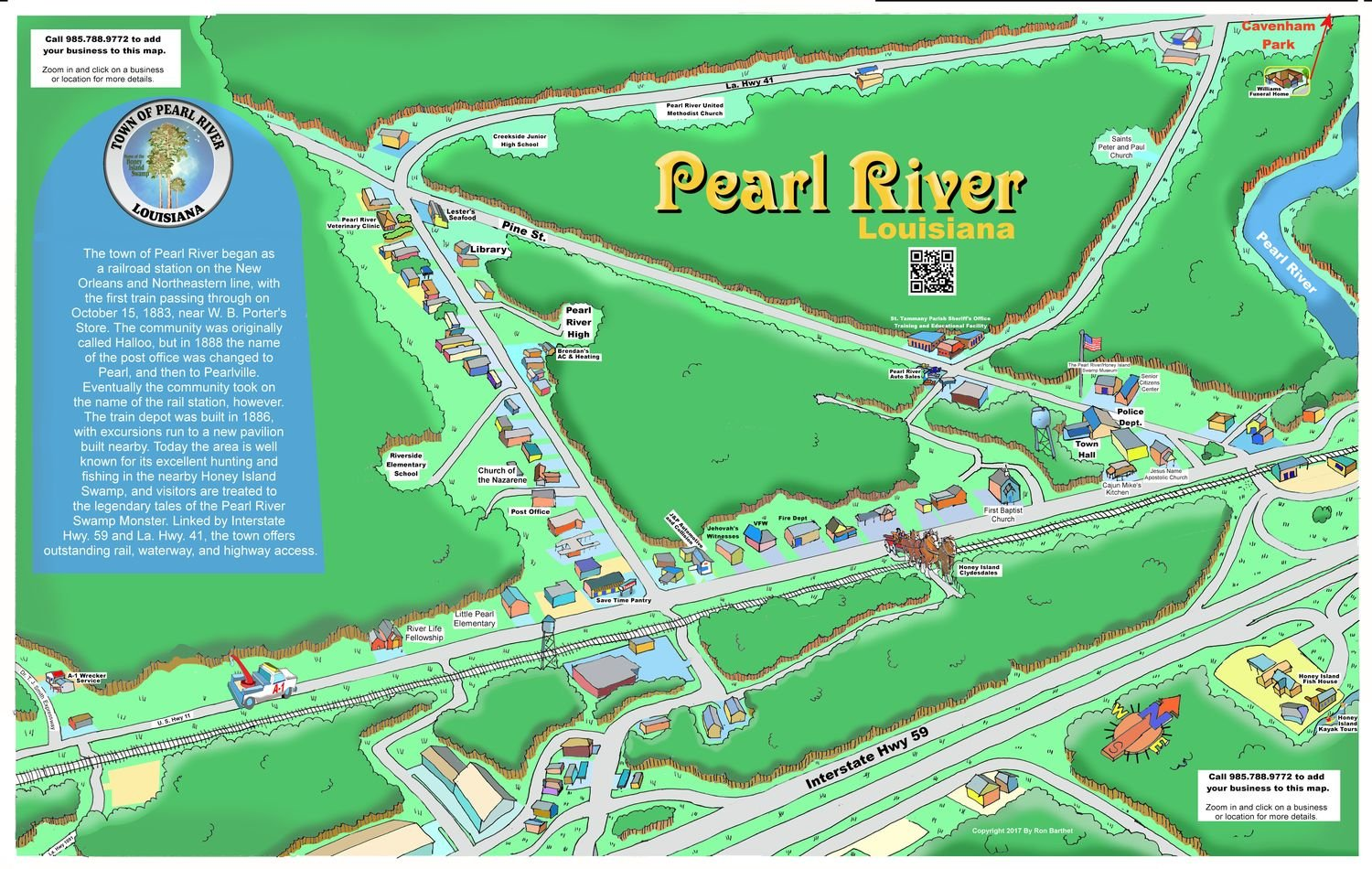 "24"" X 36"" Full Color Caricature Rendering of Pearl River, LA"