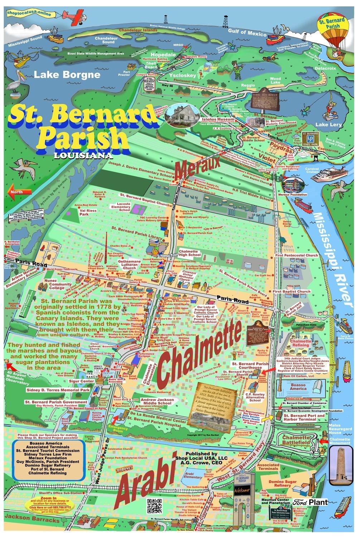 "24"" X 36"" Full Color Caricature Rendering of St. Bernard Parish, LA"