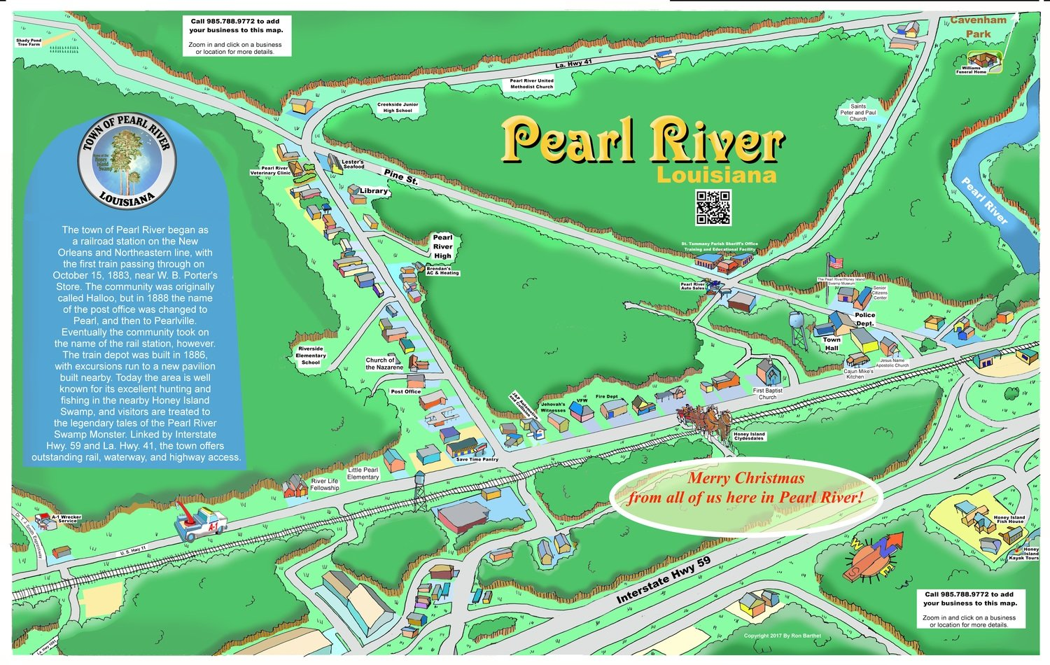 "11"" X 17"" Full Color Caricature Rendering of Pearl River, LA"