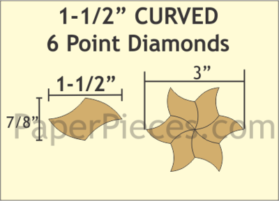 Curved 6 Point Diamonds 1 1/2 Inch