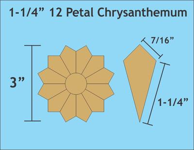 Chrysantehemum 12 Petal  1 1/4 inch