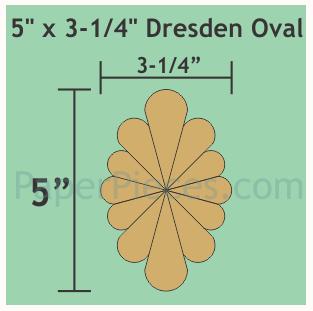 "Oval Dresden 5"" x 3 1/4 inch 9 stk blomster"