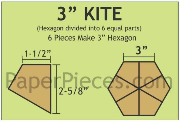 Hexagon Kite 3 inch 30 stk