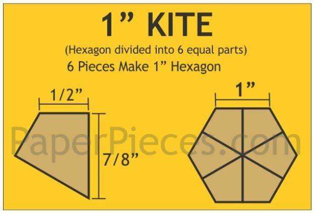 Hexagon Kite 1inch 120 stk