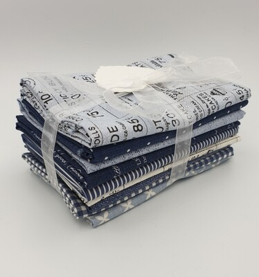 Blå stoffpakke Sweet Tea by Sweetwater 9 stk 50x55