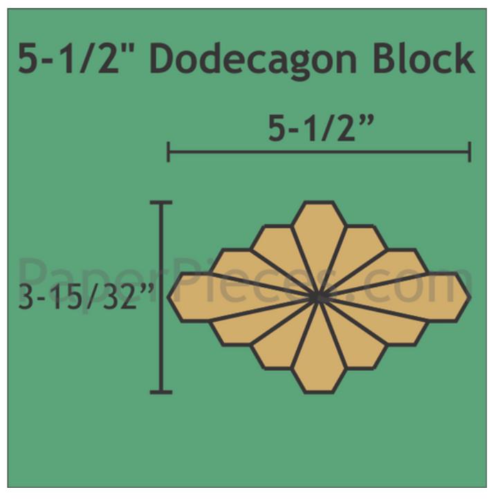 """Dodecagon 5 1/2""""  Blokk 72 stk"""
