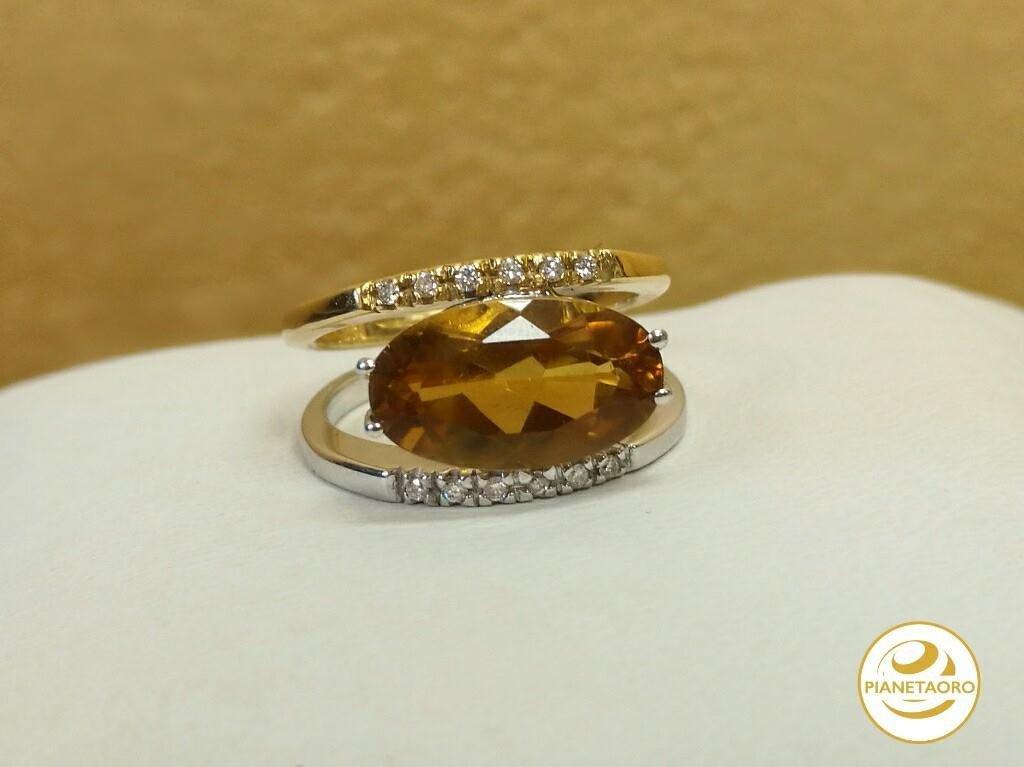 Anello oro giallo e bianco 18 carati con pietra quarzo cetrino e diamanti 0.12 gr 7.8 MISURA 13 F6675