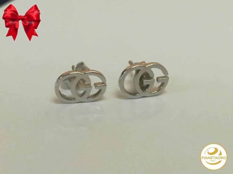 orecchini in oro bianco 18 kt gr 1.58 firmato GUCCI F462/a