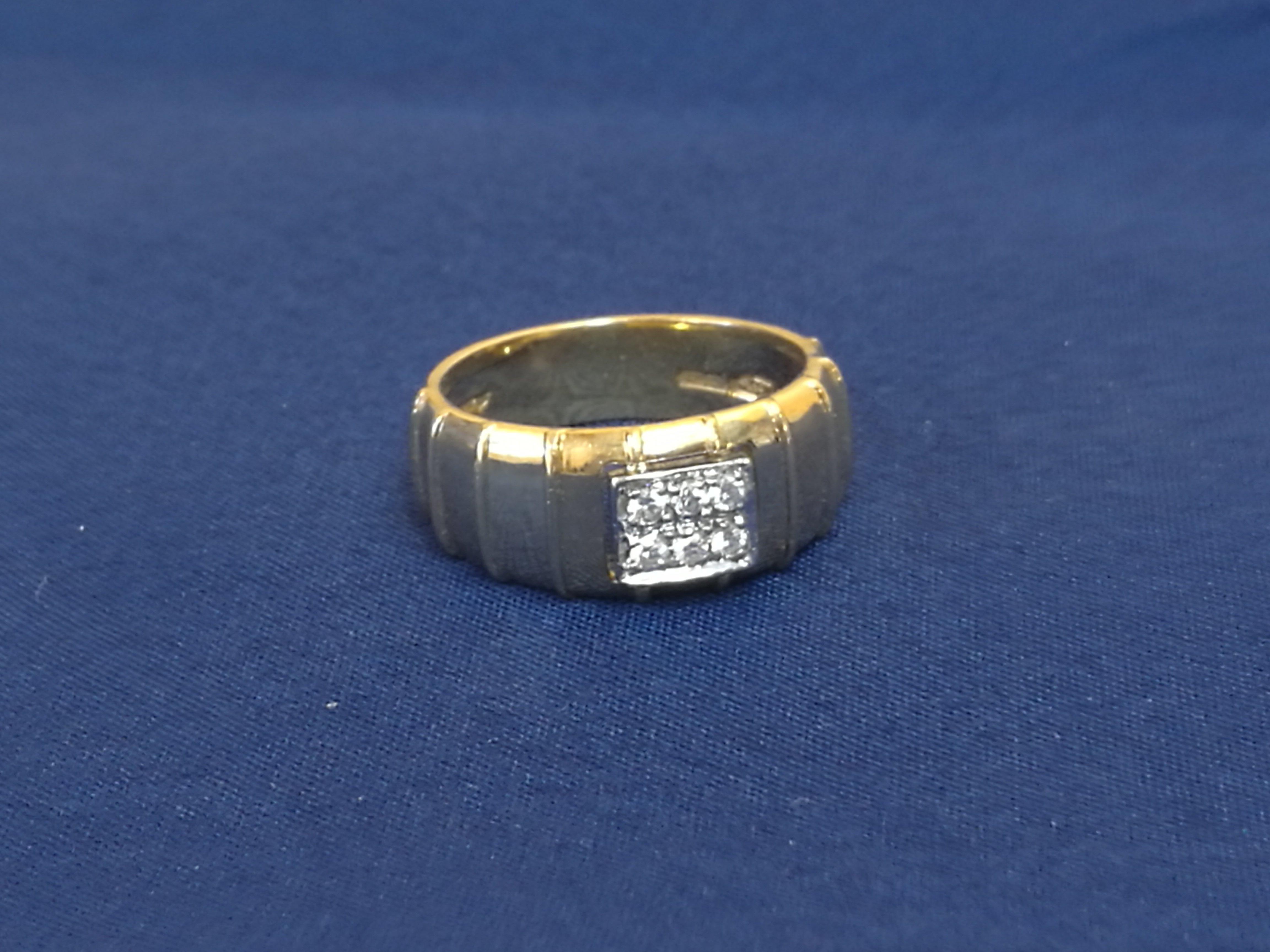 Anello oro giallo 18 carati 6.89 con 6 diamanti caratura 0.12 MISURA 17 F335-C