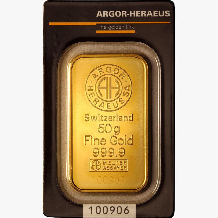 Lingotto oro 999.99 di grammi 50 F4