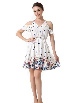 NEW NICOLE's Overjoyed Youthful Style Chiffon Dress