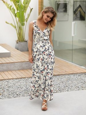 NEW GAIL's Relaxed Summer Sleeveless Floral Maxi Dress with Empire Waist