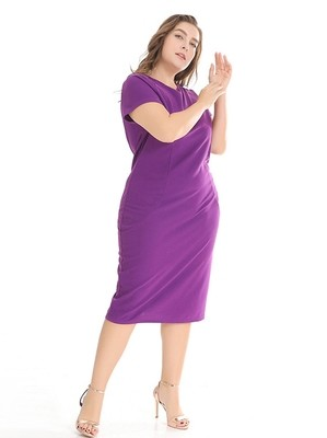 NEW AGNES' Ideal Plus Size Short-Sleeved Dress for Work
