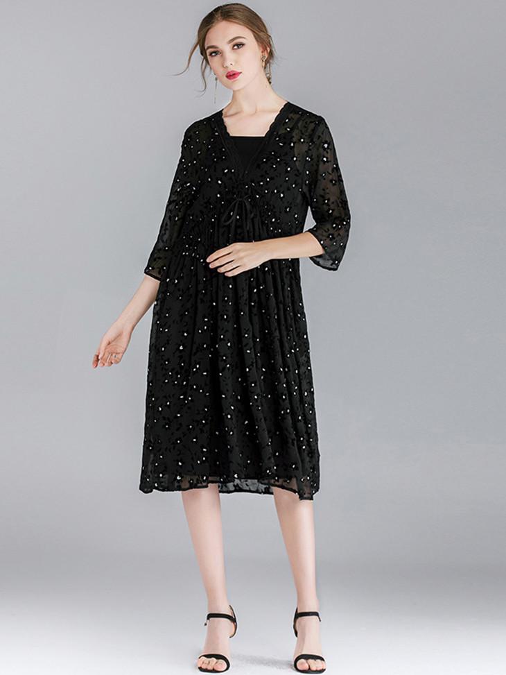NEW MEGAN's Sumptuous Chiffon Cocktail Dress with Lace Trim