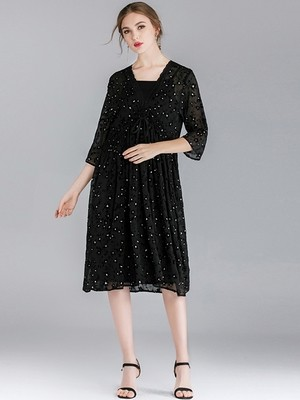 NEW MEGAN's Sumptuous Chiffon Cocktail Dress with Lace Trim