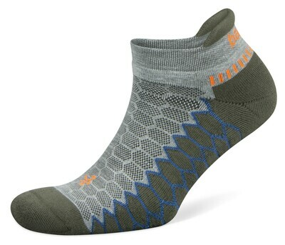 Silver Antimicrobial NoShow Compression Fit Running Socks Green Pepper/Grey