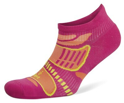 Ultra Light No Show Technical Running Sock - Electric Pink/Tangerine