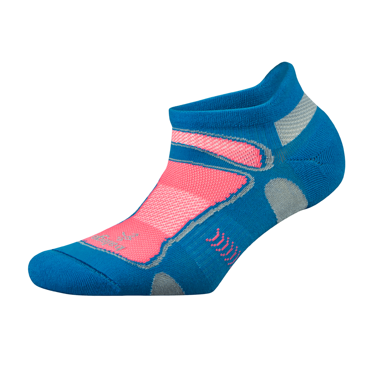 Ultra Light No Show Technical Running Sock - Turquoise/Sherbet Pink