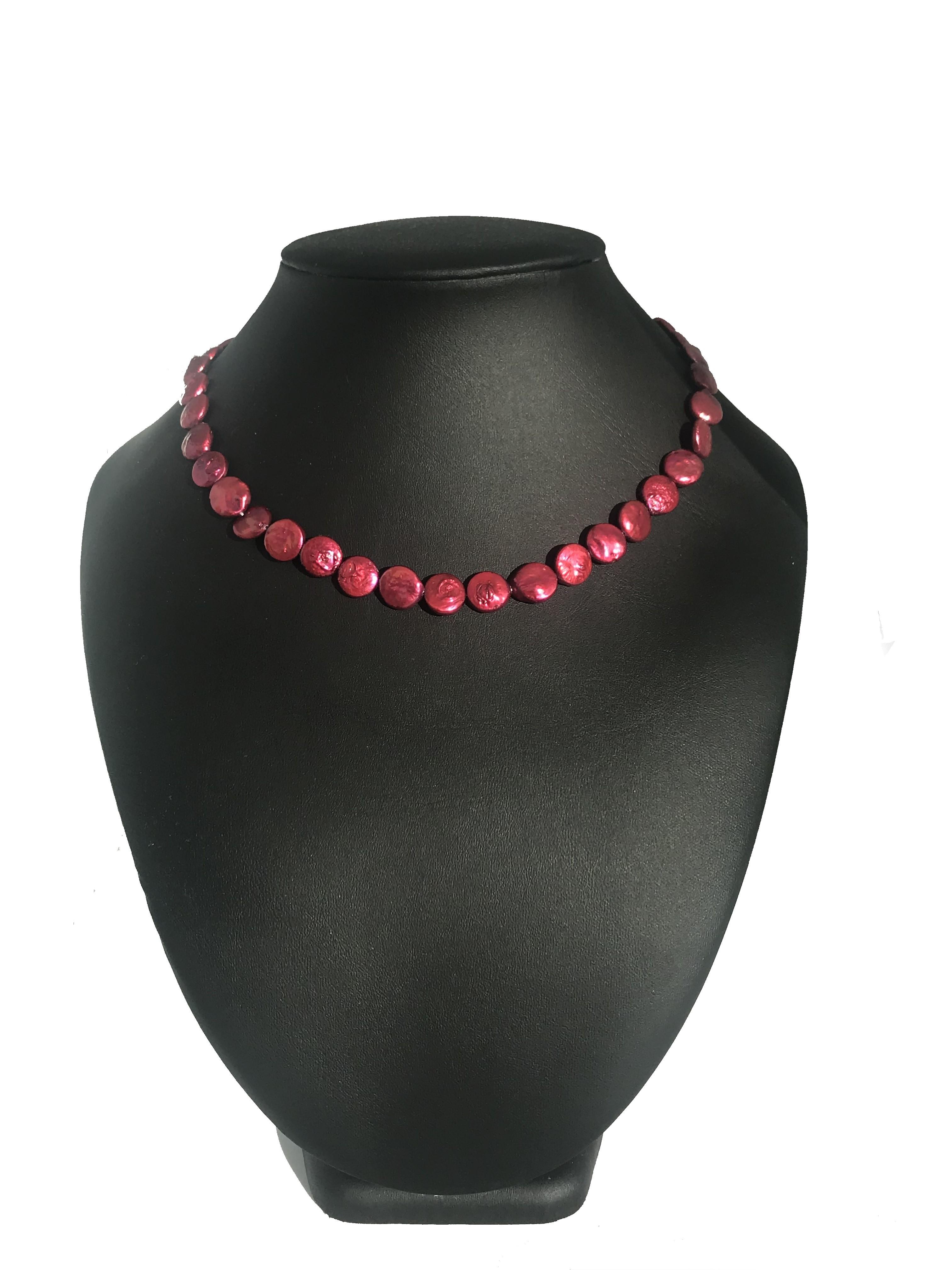 Mámoros rózsa - édesvízi biwa igazgyöngy nyaklánc 00163