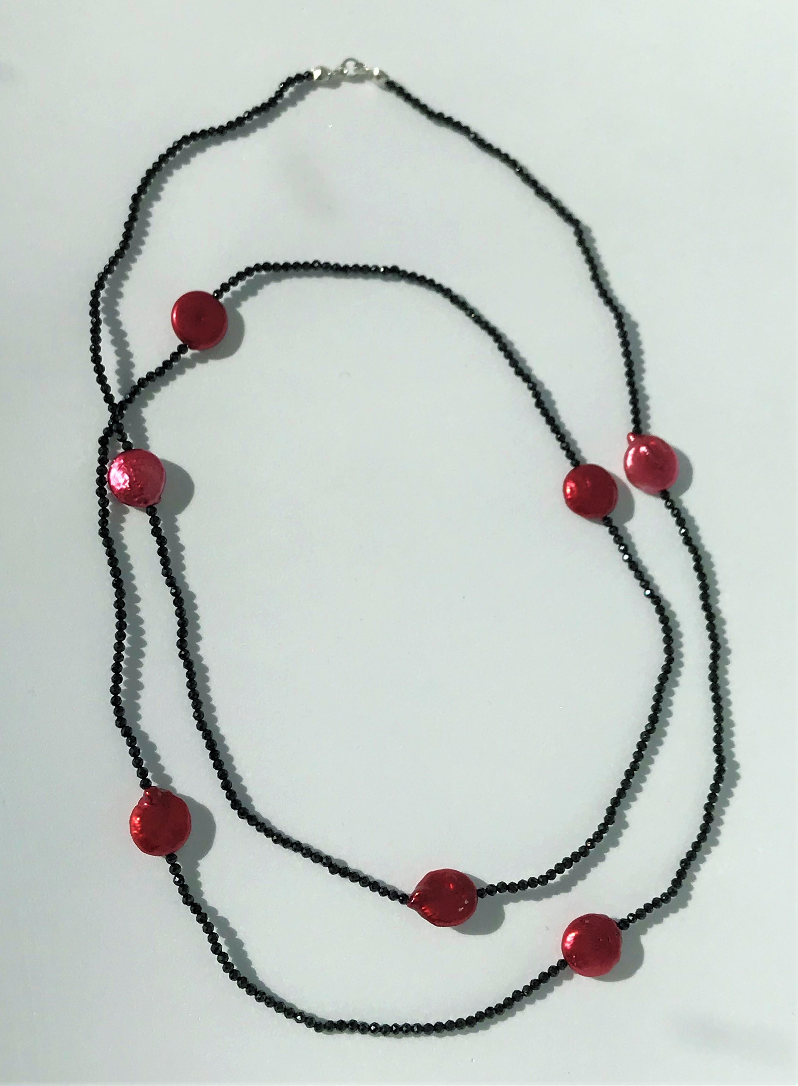 Piros-fekete nyaklánc - édesvízi igazgyöngy