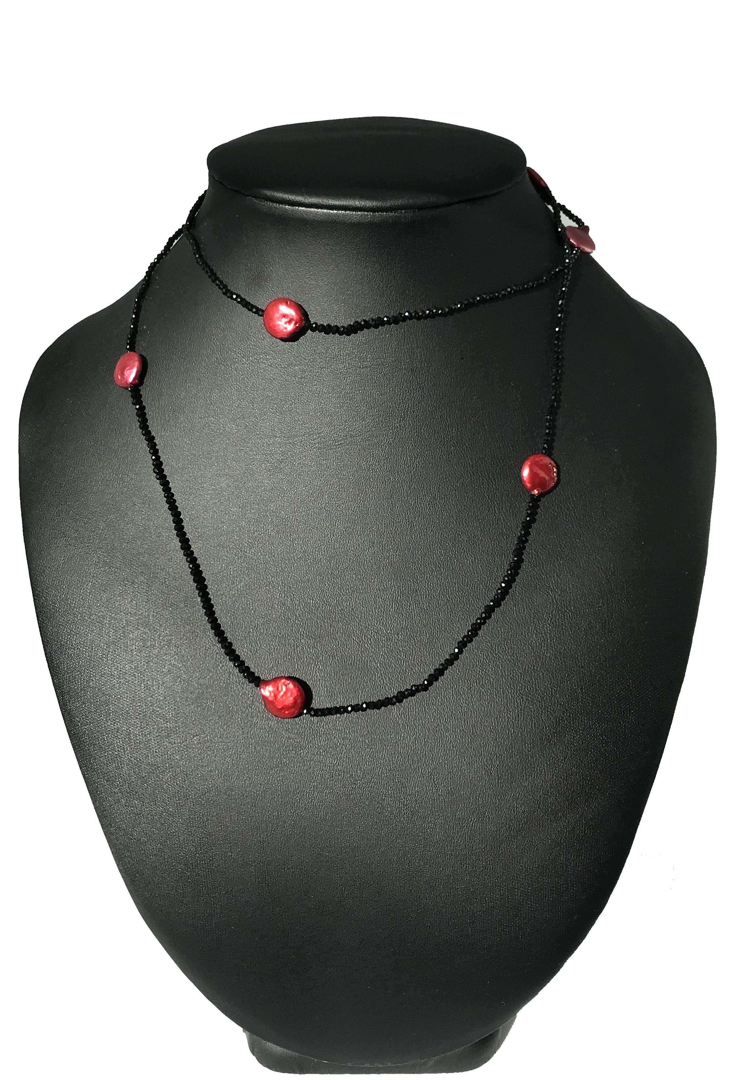 Piros-fekete nyaklánc - édesvízi igazgyöngy 00197