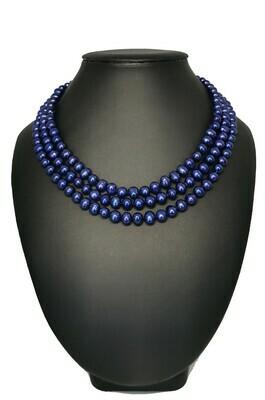 3 soros kék nyaklánc - édesvízi igazgyöngy