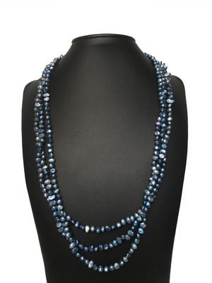 Tripla kék nyaklánc- édesvízi igazgyöngy