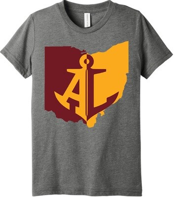 Maroon & Gold State~Youth Unisex Tee {full front logo/blank back}