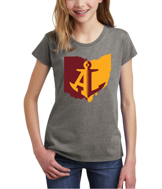 Maroon & Gold State~Youth Girls Tee {full front logo/blank back}