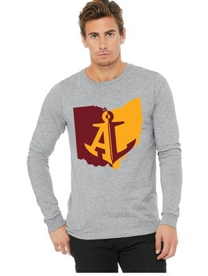 Maroon & Gold State~Unisex Long Sleeve Tee {full front logo/blank back}