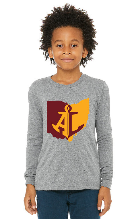 Maroon & Gold State~Youth Unisex Long Sleeve Tee {full front logo/blank back}