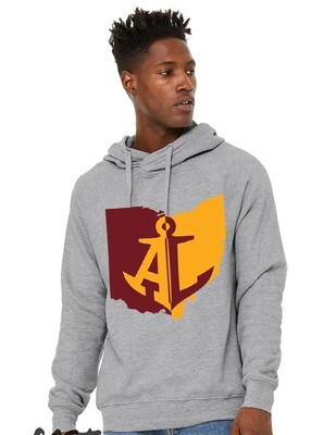 Maroon & Gold State~Unisex Crossover Hoodie {full front logo/blank back}