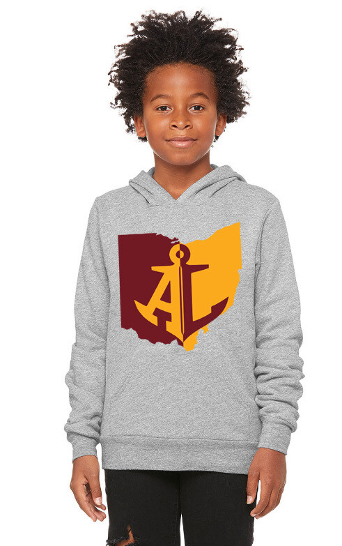 Maroon & Gold State~Youth Unisex Fleece Pullover Hoodie {full front logo/blank back}