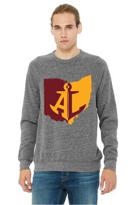 Maroon & Gold State~Unisex Fleece Raglan Sweatshirt {full front logo/blank back}