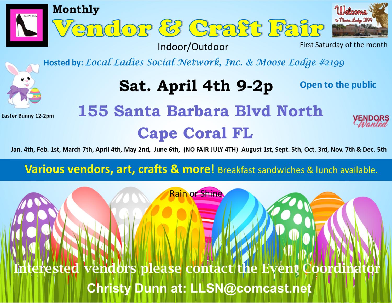 Vendor & Craft Fair W/Easter Bunny- April 4th  OUTSIDE SPOT- (10x10 area)
