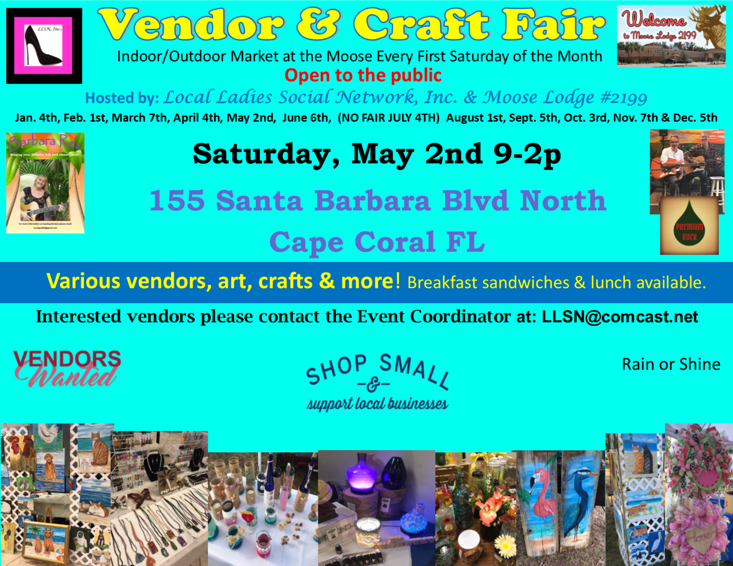 Vendor & Craft Fair- May 2nd INSIDE SPOT- Includes table & chairs