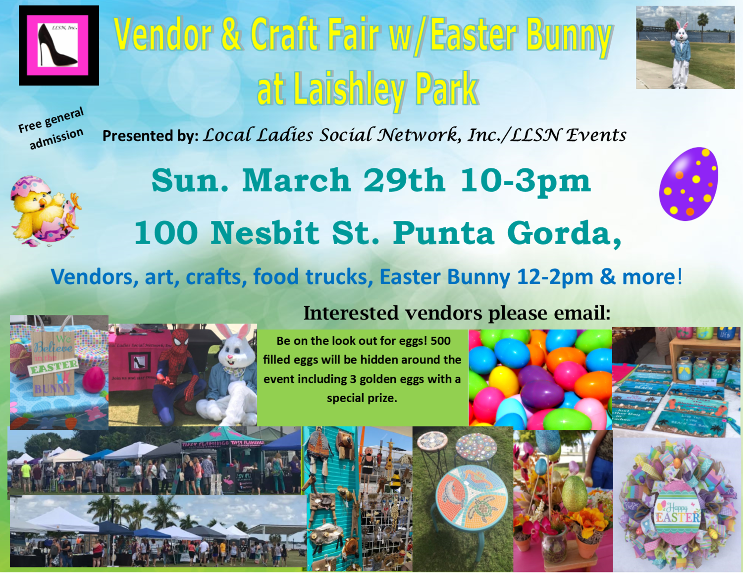 Vendor & Craft Fair w/ Easter Bunny at Laishley Park- March 29th