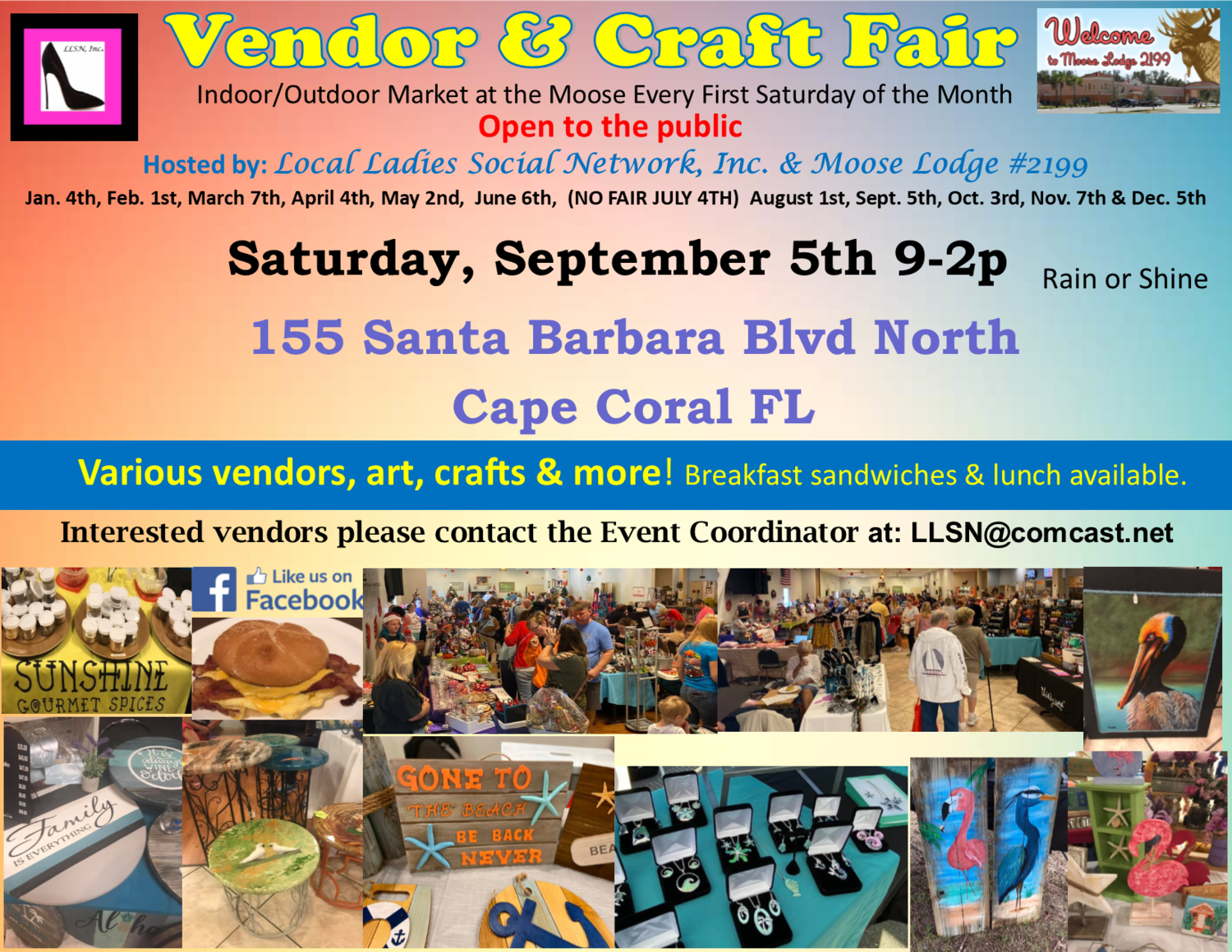 Vendor & Craft Fair- September 5th 2020 INSIDE SPOT- Includes table & chairs