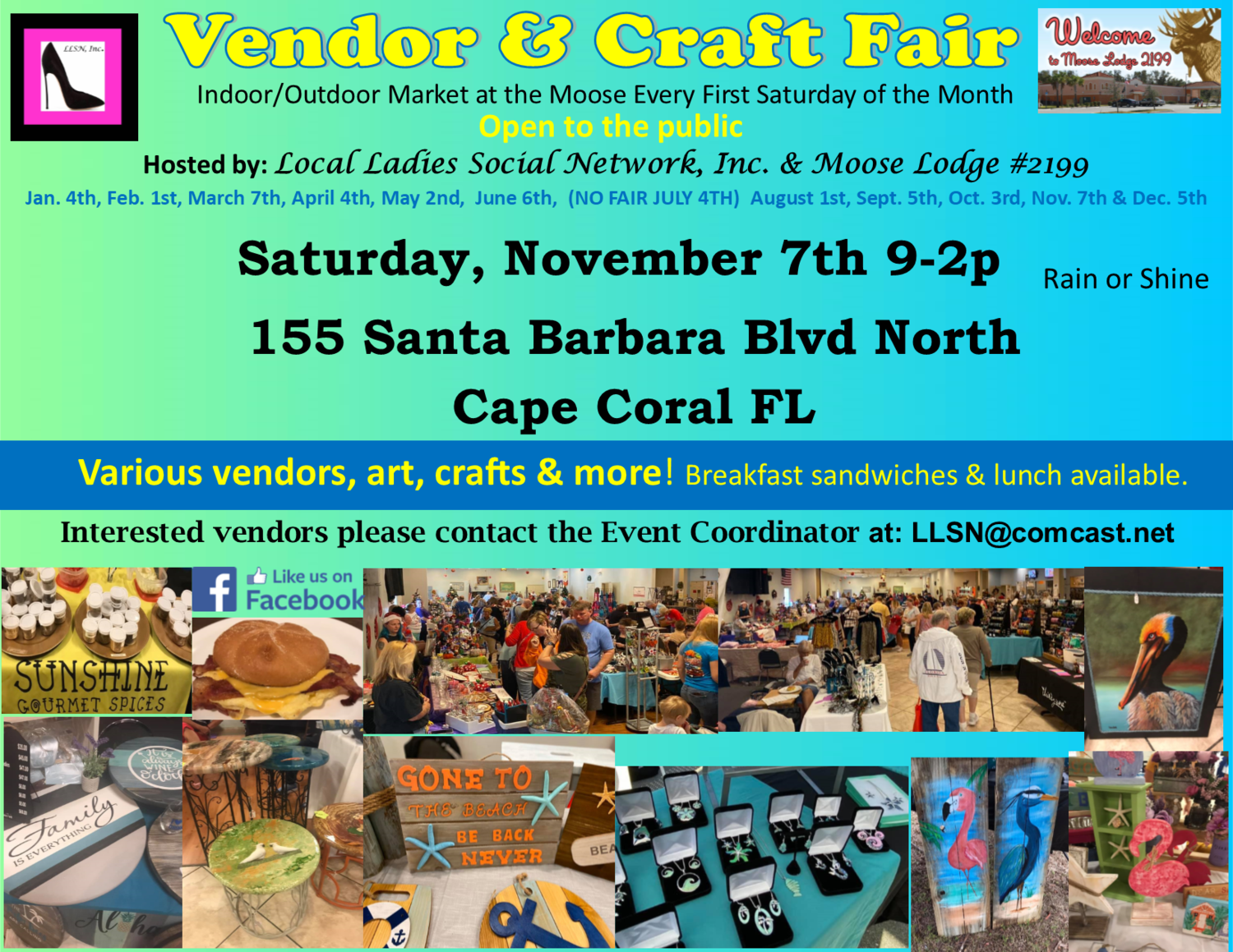 Vendor & Craft Fair- November 7th INSIDE SPOT- Includes table & chairs