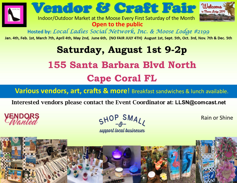 Vendor & Craft Fair- August  1st 2020 OUTSIDE SPOT- (10x10 area)