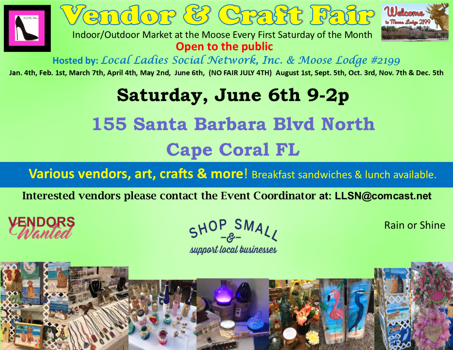 Vendor & Craft Fair- June 6th INSIDE SPOT- Includes table & chairs