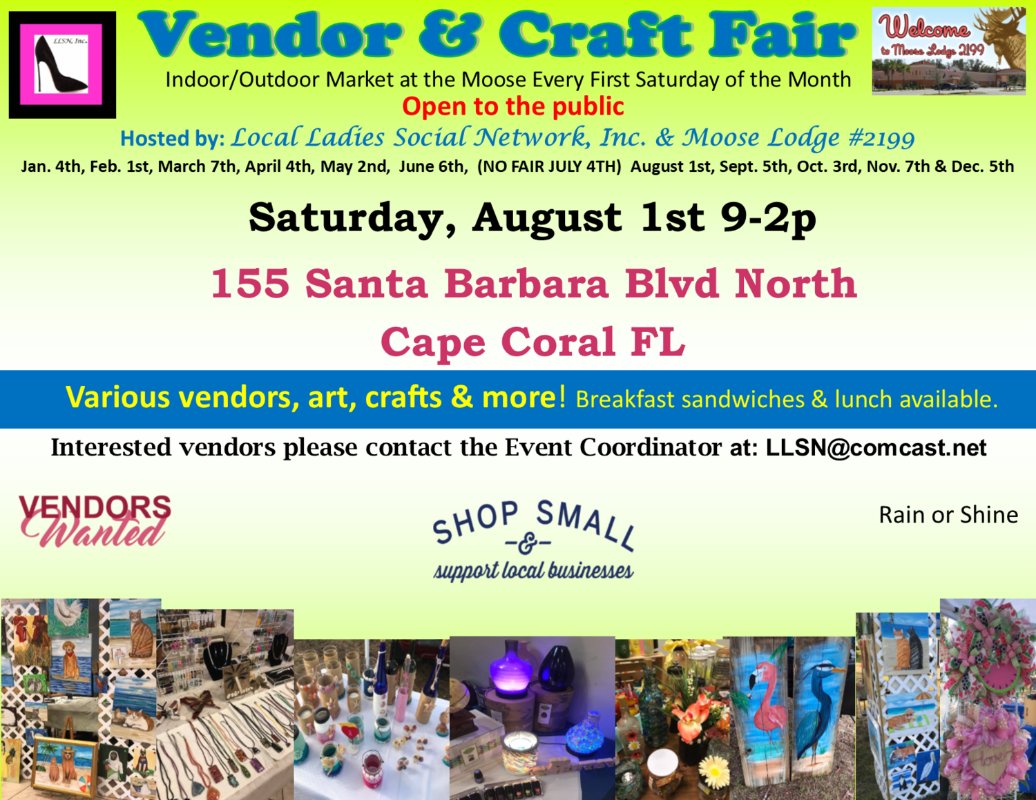 Vendor & Craft Fair- August 1st 2020 INSIDE SPOT- Includes table & chairs