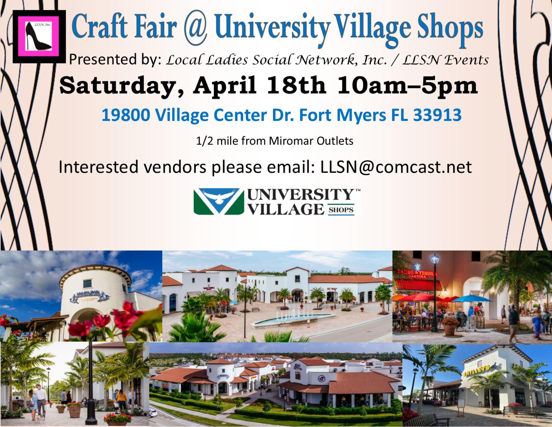 Craft Fair @ University Village Shops- April 18th