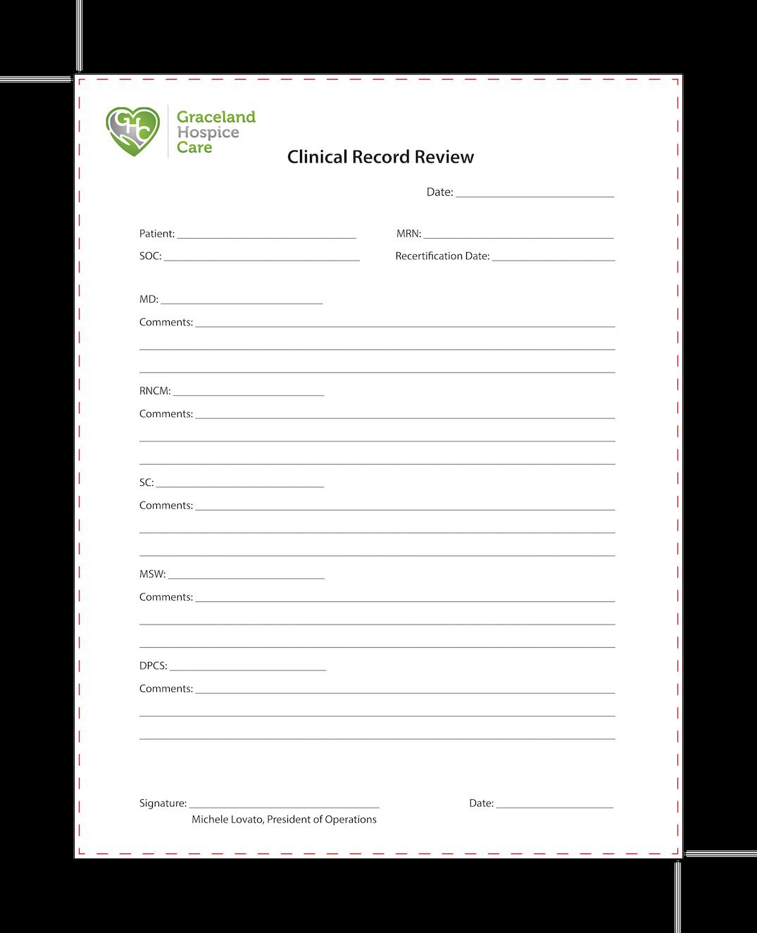 Custom Order - Graceland Hospice - NCR Forms